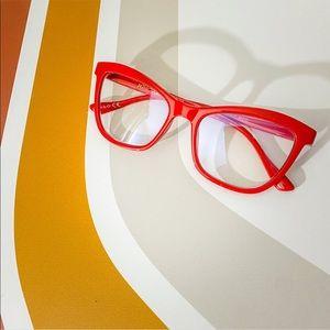 NEW Betsey Johnson Retro Blue Block Glasses 0.00